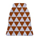TRIANGLE3 WHITE MARBLE & RUSTED METAL Ornament (Bell) Front