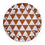 TRIANGLE3 WHITE MARBLE & RUSTED METAL Round Filigree Ornament (Two Sides) Front