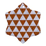 TRIANGLE3 WHITE MARBLE & RUSTED METAL Snowflake Ornament (Two Sides) Front