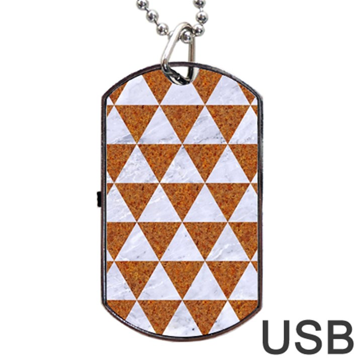 TRIANGLE3 WHITE MARBLE & RUSTED METAL Dog Tag USB Flash (Two Sides)