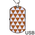 TRIANGLE3 WHITE MARBLE & RUSTED METAL Dog Tag USB Flash (Two Sides) Back