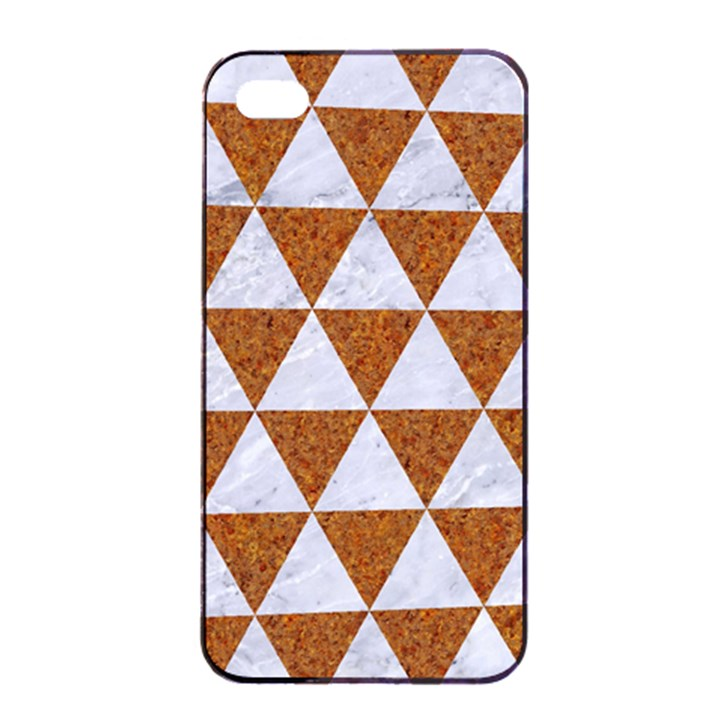 TRIANGLE3 WHITE MARBLE & RUSTED METAL Apple iPhone 4/4s Seamless Case (Black)