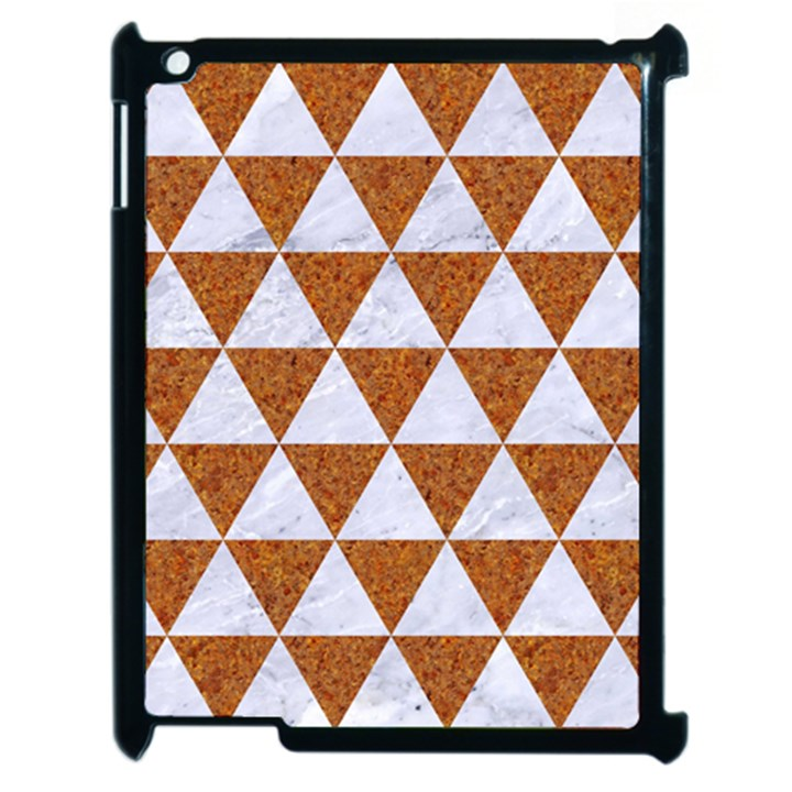 TRIANGLE3 WHITE MARBLE & RUSTED METAL Apple iPad 2 Case (Black)