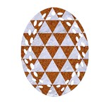 TRIANGLE3 WHITE MARBLE & RUSTED METAL Ornament (Oval Filigree) Front