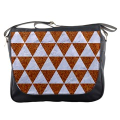 Triangle3 White Marble & Rusted Metal Messenger Bags