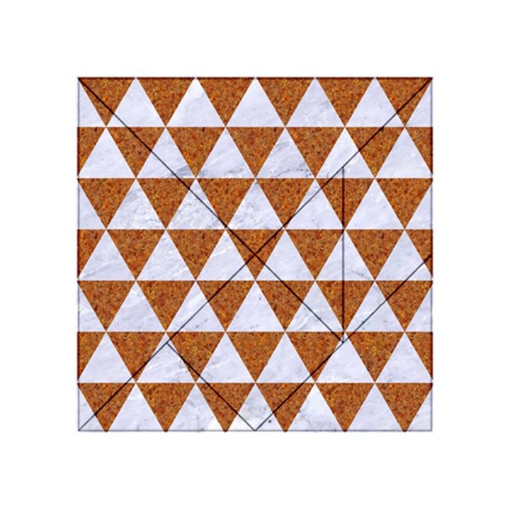 TRIANGLE3 WHITE MARBLE & RUSTED METAL Acrylic Tangram Puzzle (4  x 4 )