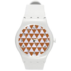Triangle3 White Marble & Rusted Metal Round Plastic Sport Watch (m)