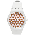 TRIANGLE3 WHITE MARBLE & RUSTED METAL Round Plastic Sport Watch (M) Front