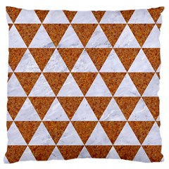 Triangle3 White Marble & Rusted Metal Large Cushion Case (one Side)