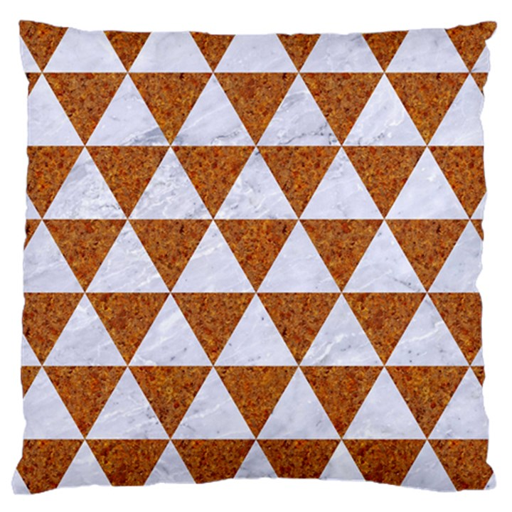 TRIANGLE3 WHITE MARBLE & RUSTED METAL Large Cushion Case (Two Sides)