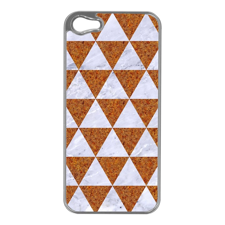 TRIANGLE3 WHITE MARBLE & RUSTED METAL Apple iPhone 5 Case (Silver)