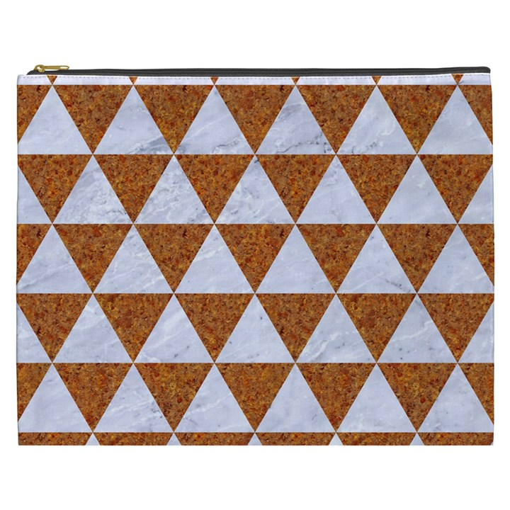 TRIANGLE3 WHITE MARBLE & RUSTED METAL Cosmetic Bag (XXXL)