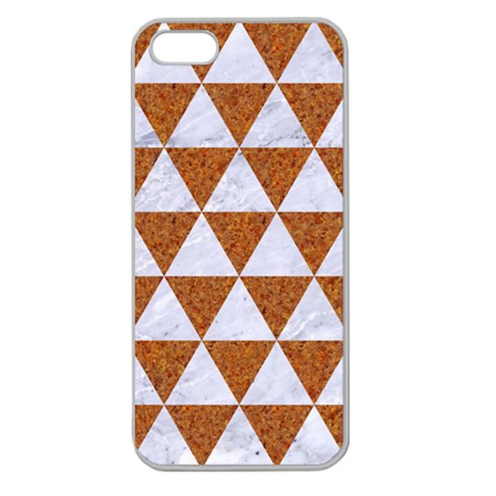 TRIANGLE3 WHITE MARBLE & RUSTED METAL Apple Seamless iPhone 5 Case (Clear)