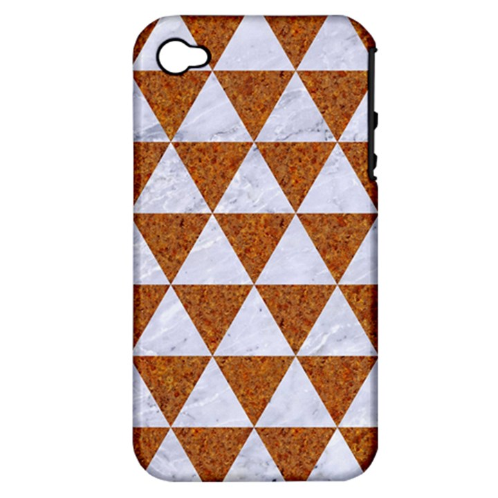 TRIANGLE3 WHITE MARBLE & RUSTED METAL Apple iPhone 4/4S Hardshell Case (PC+Silicone)