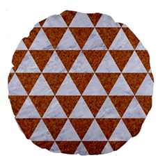 Triangle3 White Marble & Rusted Metal Large 18  Premium Round Cushions