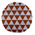 TRIANGLE3 WHITE MARBLE & RUSTED METAL Large 18  Premium Round Cushions Back
