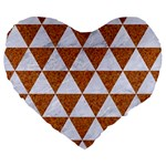 TRIANGLE3 WHITE MARBLE & RUSTED METAL Large 19  Premium Heart Shape Cushions Front