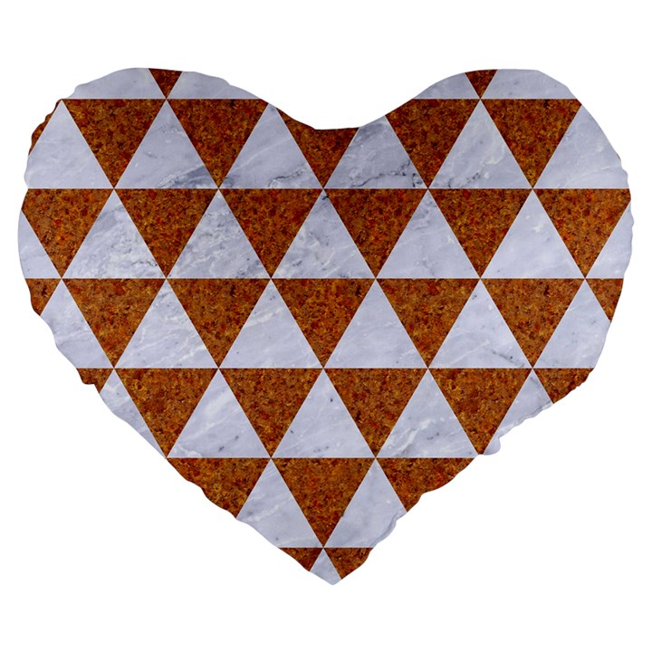TRIANGLE3 WHITE MARBLE & RUSTED METAL Large 19  Premium Heart Shape Cushions