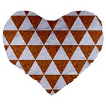 TRIANGLE3 WHITE MARBLE & RUSTED METAL Large 19  Premium Heart Shape Cushions Back