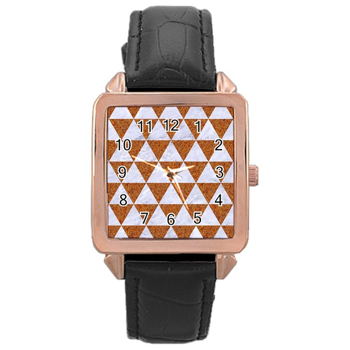 TRIANGLE3 WHITE MARBLE & RUSTED METAL Rose Gold Leather Watch
