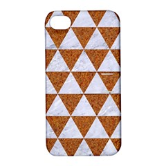Triangle3 White Marble & Rusted Metal Apple Iphone 4/4s Hardshell Case With Stand