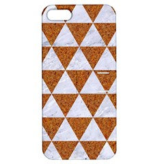 Triangle3 White Marble & Rusted Metal Apple Iphone 5 Hardshell Case With Stand