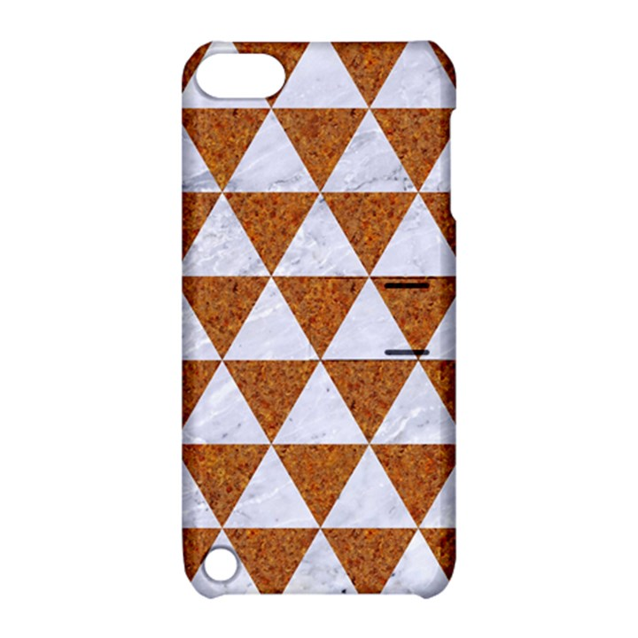 TRIANGLE3 WHITE MARBLE & RUSTED METAL Apple iPod Touch 5 Hardshell Case with Stand
