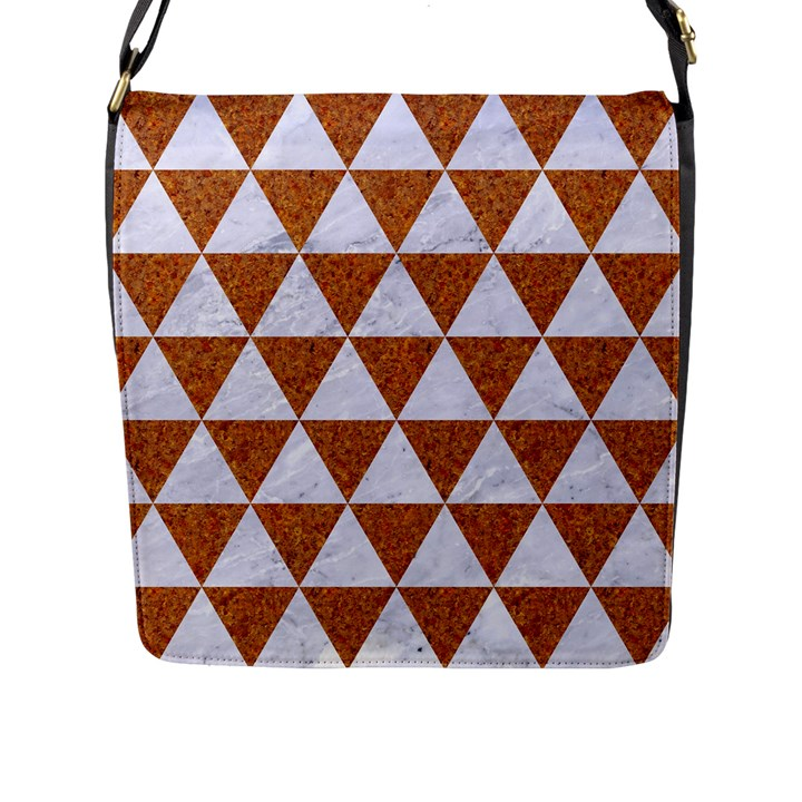 TRIANGLE3 WHITE MARBLE & RUSTED METAL Flap Messenger Bag (L)