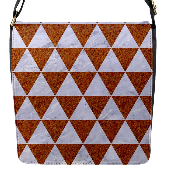 TRIANGLE3 WHITE MARBLE & RUSTED METAL Flap Messenger Bag (S)