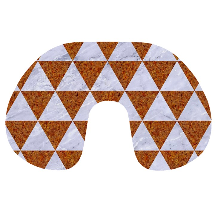 TRIANGLE3 WHITE MARBLE & RUSTED METAL Travel Neck Pillows