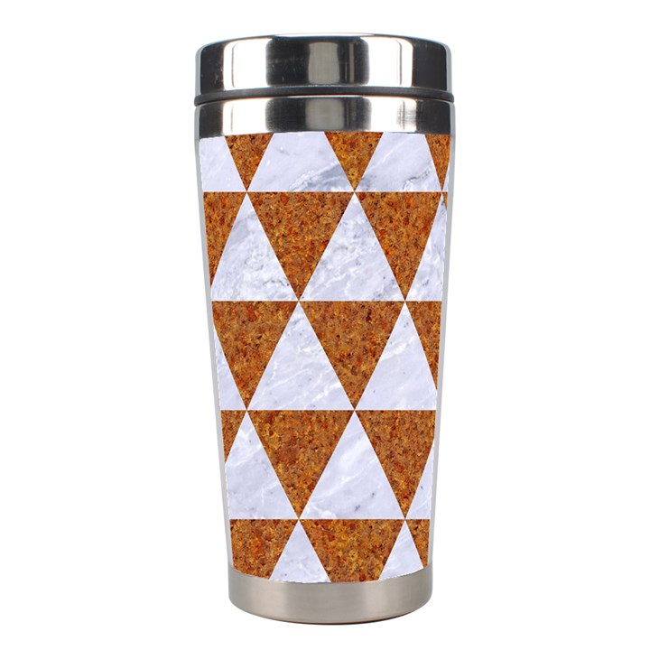 TRIANGLE3 WHITE MARBLE & RUSTED METAL Stainless Steel Travel Tumblers