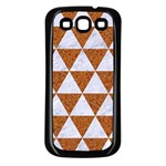 TRIANGLE3 WHITE MARBLE & RUSTED METAL Samsung Galaxy S3 Back Case (Black) Front