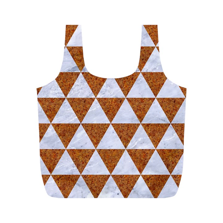 TRIANGLE3 WHITE MARBLE & RUSTED METAL Full Print Recycle Bags (M)