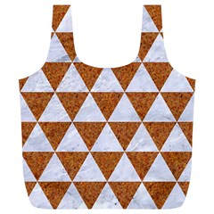 Triangle3 White Marble & Rusted Metal Full Print Recycle Bags (l)