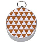 TRIANGLE3 WHITE MARBLE & RUSTED METAL Silver Compasses Front