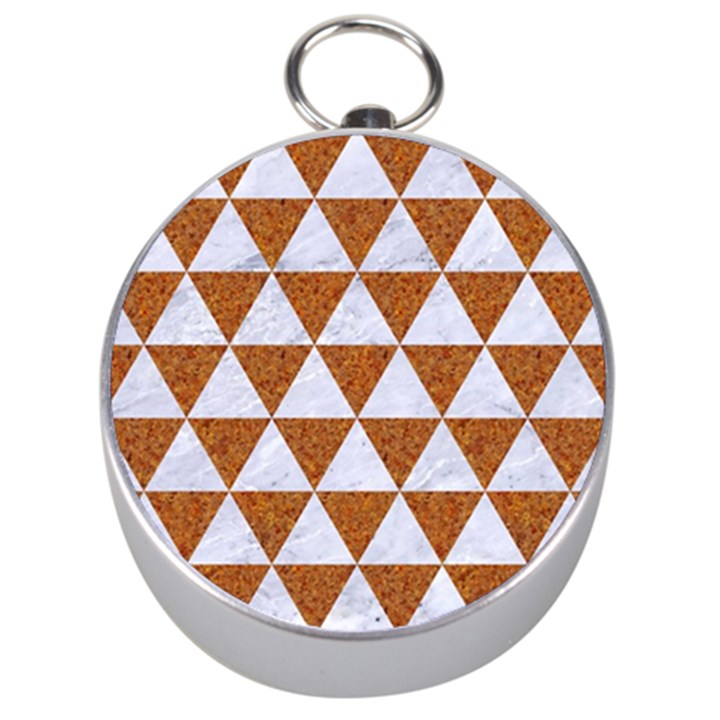TRIANGLE3 WHITE MARBLE & RUSTED METAL Silver Compasses