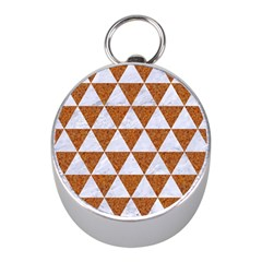 Triangle3 White Marble & Rusted Metal Mini Silver Compasses