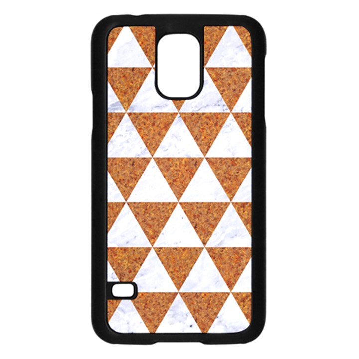 TRIANGLE3 WHITE MARBLE & RUSTED METAL Samsung Galaxy S5 Case (Black)