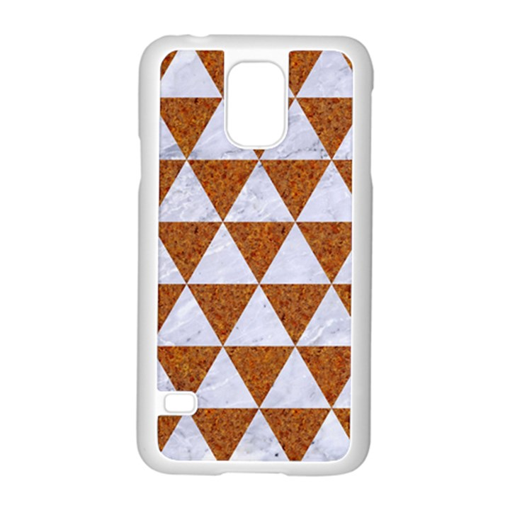 TRIANGLE3 WHITE MARBLE & RUSTED METAL Samsung Galaxy S5 Case (White)