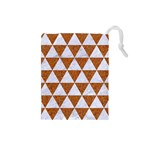TRIANGLE3 WHITE MARBLE & RUSTED METAL Drawstring Pouches (Small)  Front