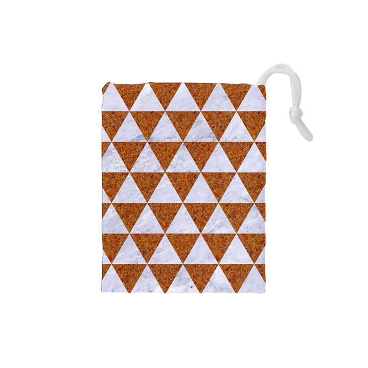 TRIANGLE3 WHITE MARBLE & RUSTED METAL Drawstring Pouches (Small)