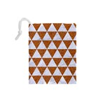 TRIANGLE3 WHITE MARBLE & RUSTED METAL Drawstring Pouches (Small)  Back