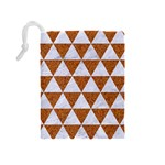 TRIANGLE3 WHITE MARBLE & RUSTED METAL Drawstring Pouches (Medium)  Back