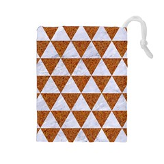 Triangle3 White Marble & Rusted Metal Drawstring Pouches (large)