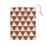 TRIANGLE3 WHITE MARBLE & RUSTED METAL Drawstring Pouches (Large)  Front