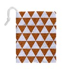 TRIANGLE3 WHITE MARBLE & RUSTED METAL Drawstring Pouches (Large)  Back
