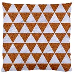TRIANGLE3 WHITE MARBLE & RUSTED METAL Large Flano Cushion Case (Two Sides) Back