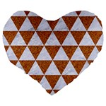 TRIANGLE3 WHITE MARBLE & RUSTED METAL Large 19  Premium Flano Heart Shape Cushions Back