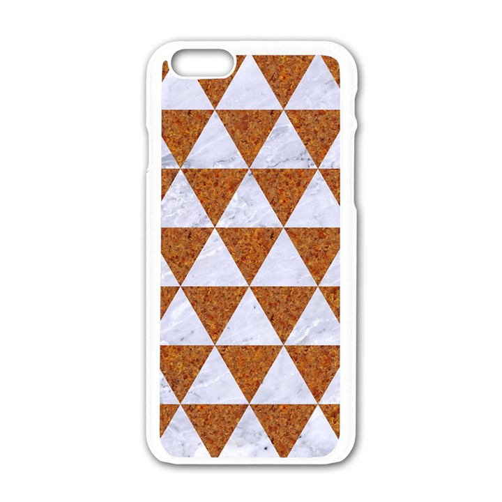 TRIANGLE3 WHITE MARBLE & RUSTED METAL Apple iPhone 6/6S White Enamel Case