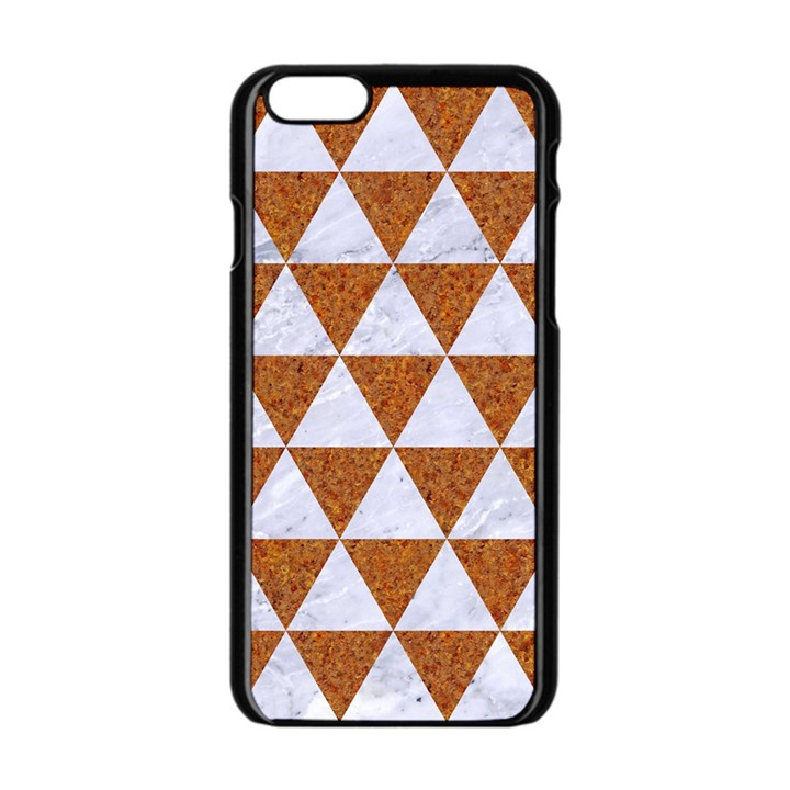 TRIANGLE3 WHITE MARBLE & RUSTED METAL Apple iPhone 6/6S Black Enamel Case